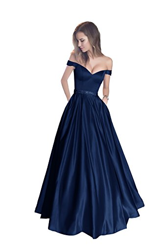 - Harsuccting Off The Shoulder Beaded Satin Evening Prom Dress with Pocket Navy 16