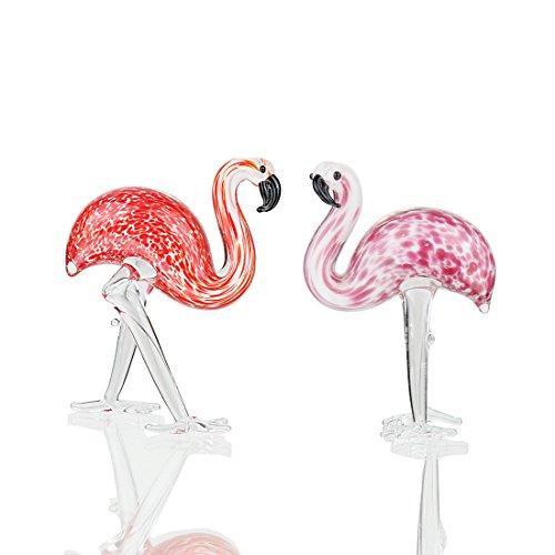 (Qf Handmade Glass Flamingos Love Token Art Glass Blown Animal Figurine,Pack of 2)