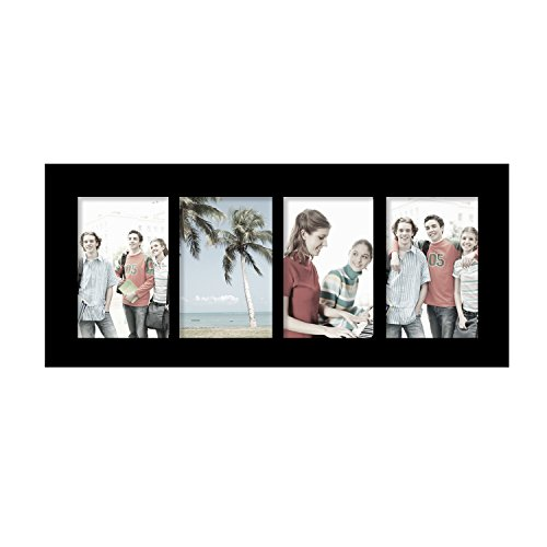 Frame Black Panel - Adeco PF0424 Decorative Black Wood Divided Picture Photo Frame, Wall Hanging, 4 Openings, 4x6 inches