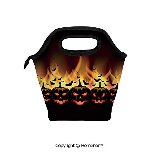 Insulated Neoprene Soft Lunch Bag Tote Handbag lunchbox,3d prited with Happy Halloween with Jack o Lanterns on Fire with Bats Holiday,For School work Office Kids Lunch Box & Food Container for $<!--$21.99-->