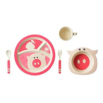 Ecobambooware Kids Bamboo Dinnerware 5-Piece Pig Set Pink  sc 1 st  Amazon.ca & Ecobambooware Kids Bamboo Dinnerware 5-Piece Pig Set Pink: Amazon ...