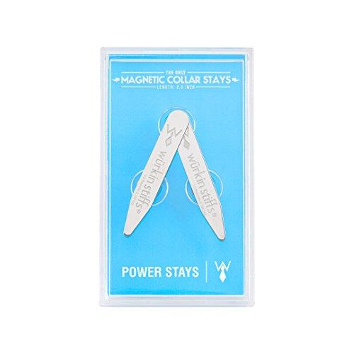 2 Premium Metal Magnetic Collar Stays in Clear Plastic Case - Collar Shirt Stiff
