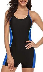 BeautyIn Women's One Piece Athletic Racerback Bathing Suit Color Block Swim