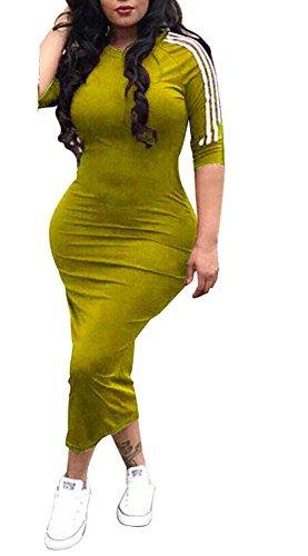 Remelon Womens Casual Striped Half Sleeve Crewneck Tunic Bodycon Long Pencil Midi Dress Yellow ()