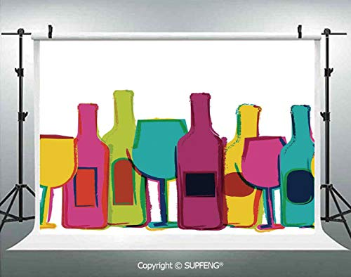 Background Pop Art Wine Bottles and Glasses Background Bar Party Happy Hour Retro Design 3D Backdrops for Interior Decoration Photo Studio Props