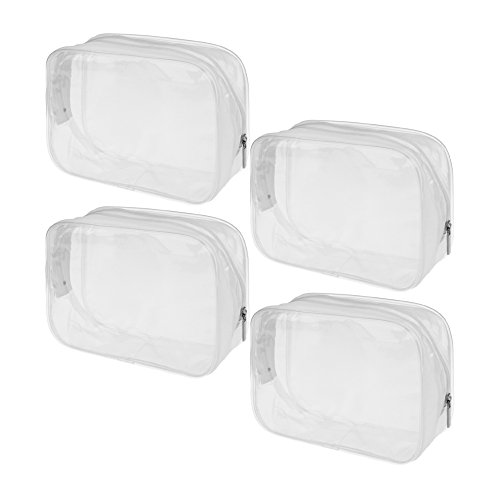 BCP 4 Pieces Waterproof Fabric PVC Transparent Plastic Zipper Bag Airline Carry On Clear Travel Toiletry Bag