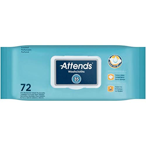 Attends Washcloths - Attends Adult Wet Washcloths Convenience Pack with Aloe - 72 Wipes