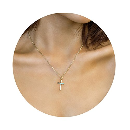 OSIANA Small Cross Necklace 14K Gold Pendant Tiny Crucifix Necklace Dainty Jewelry Gift for - Gold Delicate Necklaces