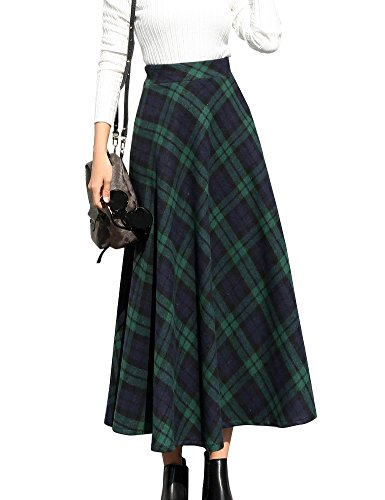 IDEALSANXUN Womens High Waist Winter Warm Long Maxi Skirt Flare A-line Plaid Skirts (Medium, (Elastic Waist Wool Skirt)