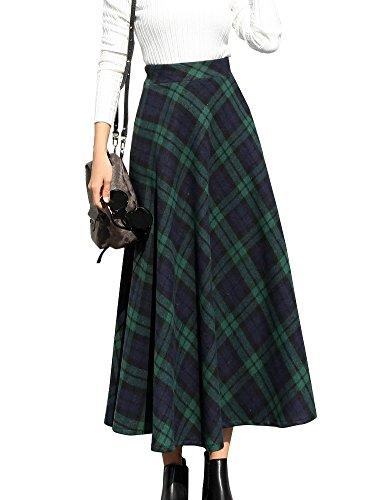IDEALSANXUN Womens High Waist Winter Warm Long Maxi Skirt Flare A-line Plaid Skirts (X-Large, Green)