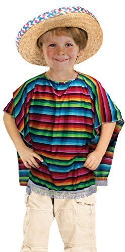 Boys Mexican Poncho Costume for Wild West Cowboy Fancy Dress Outfit Child by Partypackage Ltd (Wild Wild West Outfit)