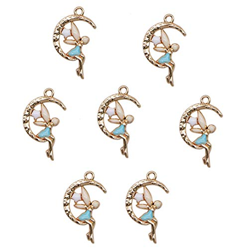 JETEHO 8Pcs Fairy Charms - Fairy in The Moon Charm Pendants, Enamel and Gold Plated for Jewelry Making and DIY Craft Projects
