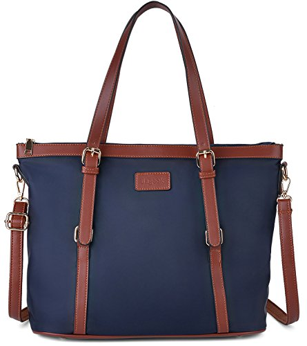 Bageek Tote Bag for Women Nylon Waterproof Tote Purses Blue Work Tote Handbags (blue, large) ()