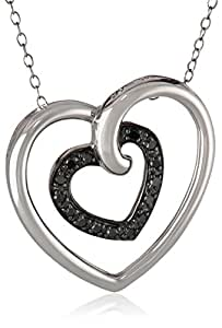 "Sterling Silver Black Diamond Heart in Heart Pendant Necklace (.17 cttw), 18"""