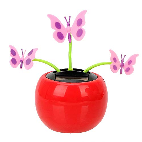 Swing Plant Car Ornament Solar Powered Dancing Toy Auto Accessories with Adhesive Tape Dashboard Decoration Butterfly