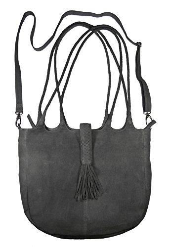 RUBICON Damenhandtasche aus echtem Veloursleder 270/4802 mit Fransen, groß, in Farbe 110 grau