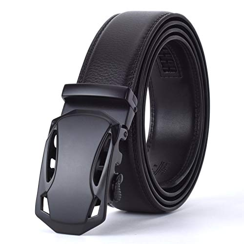 Men black Automatic Buckle Leather luxury Belt Male Alloy buckle Belts for Men Ceinture Homme Cinto Masculino,black 2,125cm