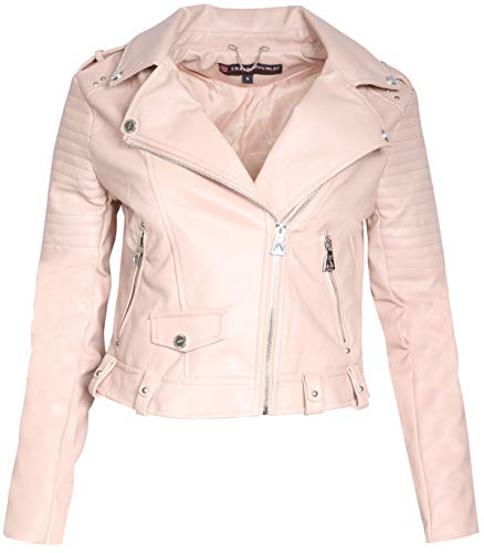 (Urban Republic Women Faux Leather Moto Biker Jacket with Studded Detailing, Rose Smoke,)