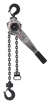 "Lever Chain Hoist, 1500 lb. Load Capacity, 5 ft. Hoist Lift, 29/32"" Hook Opening"