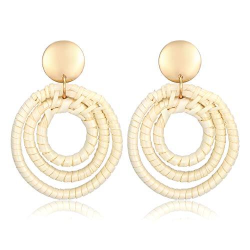MOLOCH Rattan Earrings for Women Handmade Lightweight Straw Wicker Braid Woven Geometric Drop Dangle Earrings Statement Stud Earrings (Three Circle) ()