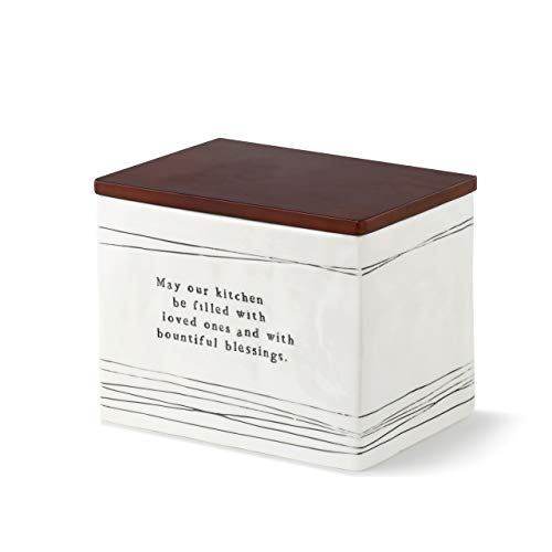 DEMDACO May Our Kitchen Black Stripe 7 x 5 Ceramic Stoneware Wood Decorative Recipe Box