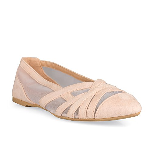 Twisted Mujeres Lindsay Faux Suede Almond Toe Malla Recortable Ballet Flats Rosa Claro