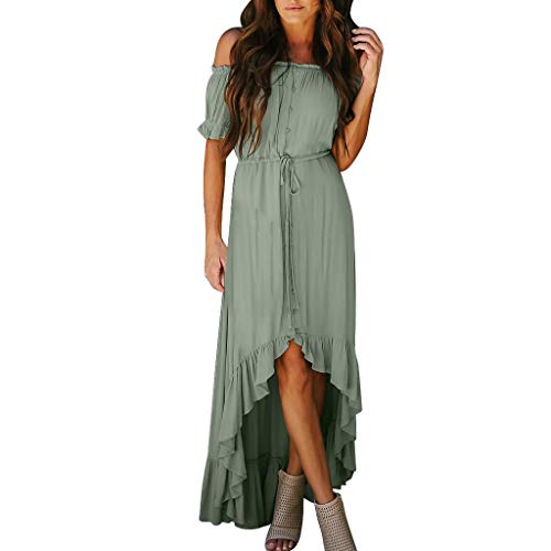 TUSANG Womens Skirts Fashion Off The Shoulder Ruffle Party Dresses Irregular Beach Maxi Dress Loose Flowy Dress Green