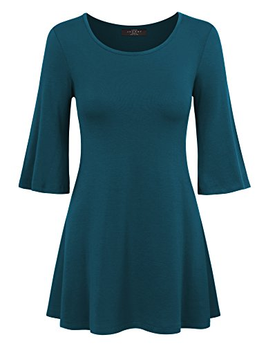 Bell Sleeves Tunic (MBJ WT1056 Womens Round Neck 3/4 Bell Sleeve Pullover Tunic Top XXL Teal)