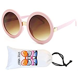 V3052-VP Style Vault Crazy Round Oversized Sunglasses (S2183V Pastel pink-brown)