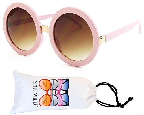 V3052-VP Style Vault Crazy Round Oversized Sunglasses (S2183V Pastel - Pink Big Glasses