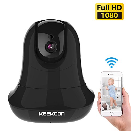 KEEKOON HD 1080P Wireless IP Camera WiFi Baby Pet Monitor Built in Microphone Pan/Tilt/Zoom Home Security Surveillance Camera Support 64 GB SD Card HD Night Vision Two-Way Audio (Black) by KEEKOON