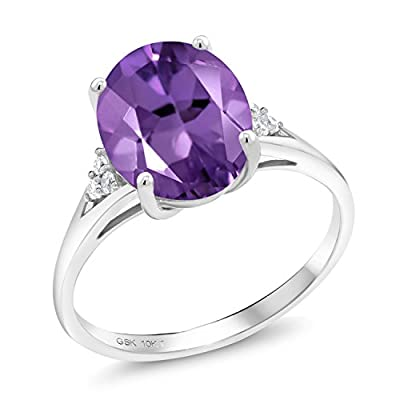 2.57 Ct Oval Purple Amethyst White Diamond 10K White Gold Ring