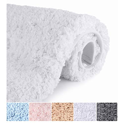 Luxury White Bathroom Rugs Shaggy Bath Rug Non Slip Bath Mat (20 x 32) - Efficient Water Absorbent, Machine Wash/Dry & Extra Soft Plush Bath Tub Mat for Bathroom, Living Room and Laundry Room (Mats Bath Large Size)