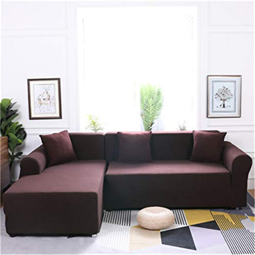 Elasticity L Shaped Sofa Cover Single/Double/Three/Four-Seat Sofa Slipcovers Cotton Solid Sofa Cover for Living Room Seat Cover 5 ()