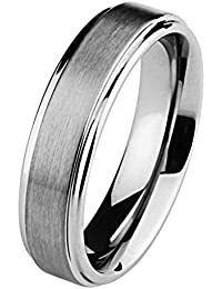 6MM Wellingsale LUXE Series Comfort Fit Wedding Band Ring with Raised Center and Smooth Rounded Edges in Brushed and Polished Finish for Men and Women (Multiple Sizes Available)