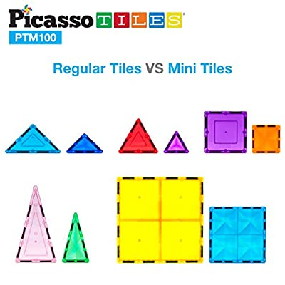 PicassoTiles 100 Pcs Magnetic Building Block Mini Diamond Series Travel Size On-The-Go Magnet Construction Toy Set STEM Learning Kit Educational Playset Child Brain Development Stacking Blocks PTM100: Toys & Games