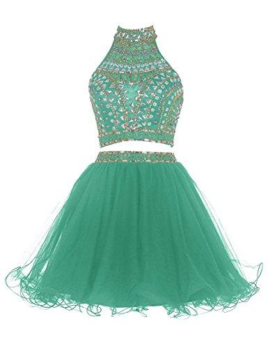 Chupeng Deux Bal Pièce Robe De Retour À La Maison De Cristal Dos Nu Courte Robe De Soirée Verte 2