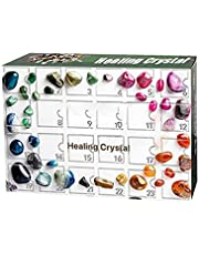 Christmas Advent Calendar, 24 grids Healing Crystal Advent Calendar 2021 Art and Craft Countdown Calendar Collection Set Gift, Rock Collections Pebbles Polished Gravel Christmas Countdown Calendars