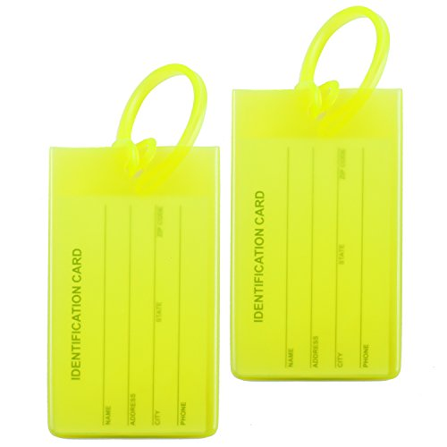 2 Packs Colorful Flexible Travel Luggage Tags for Baggage Bags / Suitcases - Name ID Labels Set for Travel - Light Green