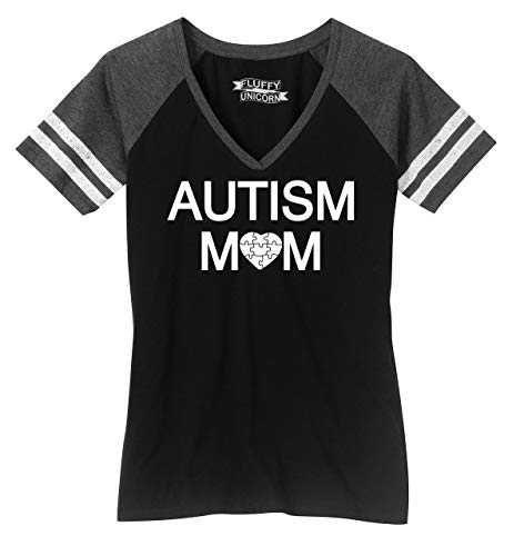 Ladies Game V-Neck Tee Autism Mom Tee Autism Awareness Even...