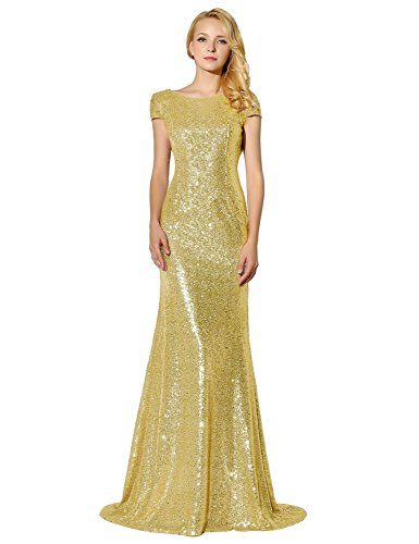 Sarahbridal Women's Formal Prom Dreeses Sequin Bridesmaid Dress Ball Gowns Rose Champagne US26 ()