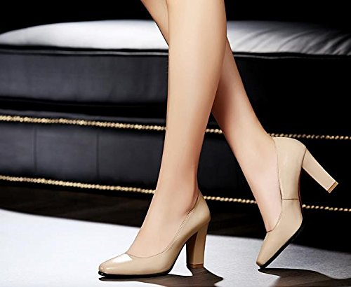 tacchi 39 8cm comode Alla Sandali alti Solo scarpe 35 pendolarismo lavoro Donna Da temperamento AJUNR scarpe Moda albicocca qARw6FRH