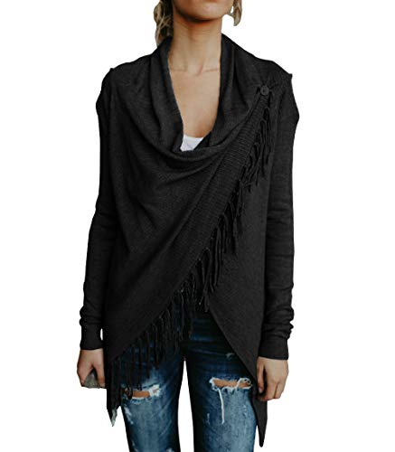 Yacooh Womens Open Front Cardigan Sweaters Knit Cowl Neck Long Sleeve Tassel Shawls