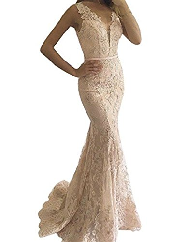YSMei Women's Long V Neck Lace Beaded Evening Prom Dresses Mermaid Wedding Party Gowns Champagne (Mermaid Lace)