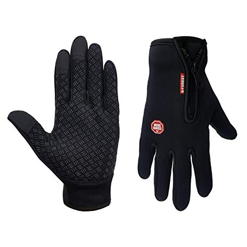 Winter Waterproof Cycling Gloves with Sensitive Touch Screen Function Fleece Liner for Cycling and Sports (Large Fit for Men and Women)
