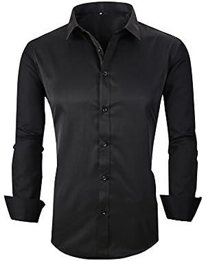 Taobian Mens Casual Business Slim Fit Button Down Dress Shirt Long Sleeve Shirts