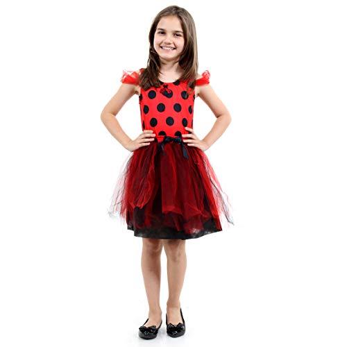 Fantasia Joaninha Dress Up Infantil 16312-G Sulamericana Fantasias Preto/Vermelho G 10/12 Anos