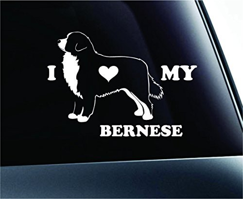 Dog I Love My Bernese Mountain Dog Symbol Decal Car Truck Sticker Window Dog Breed Pet Family Paw Print Love (White), Decal Sticker Vinyl Car Home Truck Window Laptop