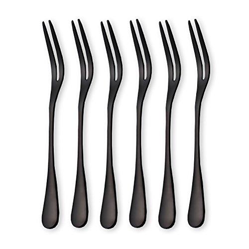 6-Pieces Stainless Steel Fruit Forks, Tasting Appetizer Forks, Dessert Cake Forks, Mini Salad Fruit Tasting Forks, Cocktail Fork (Black-Pack of 6)