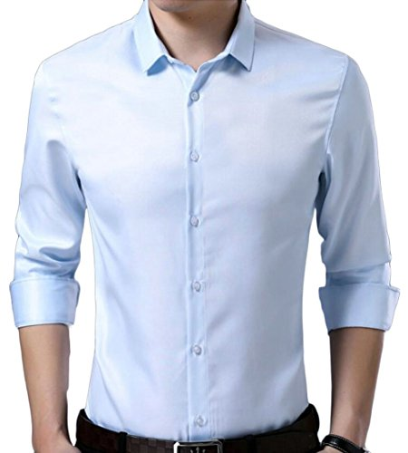 (Gnao Mens Solid Wrinkle Free Skinny Spread Collar Dress Shirts Blue L)
